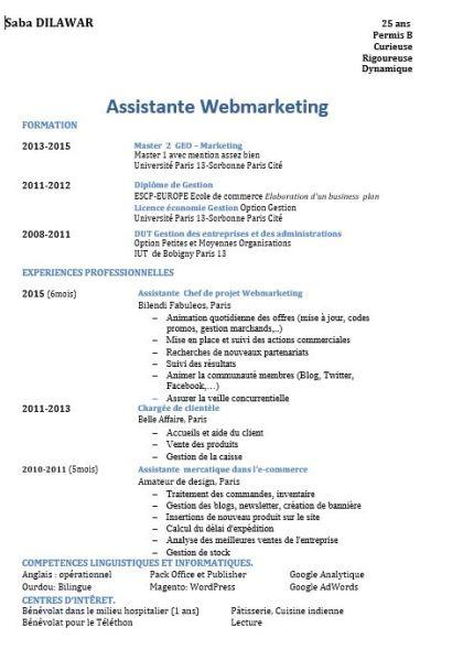 CV Saba chef de projet Webmarketing, Chef de projet Digital
